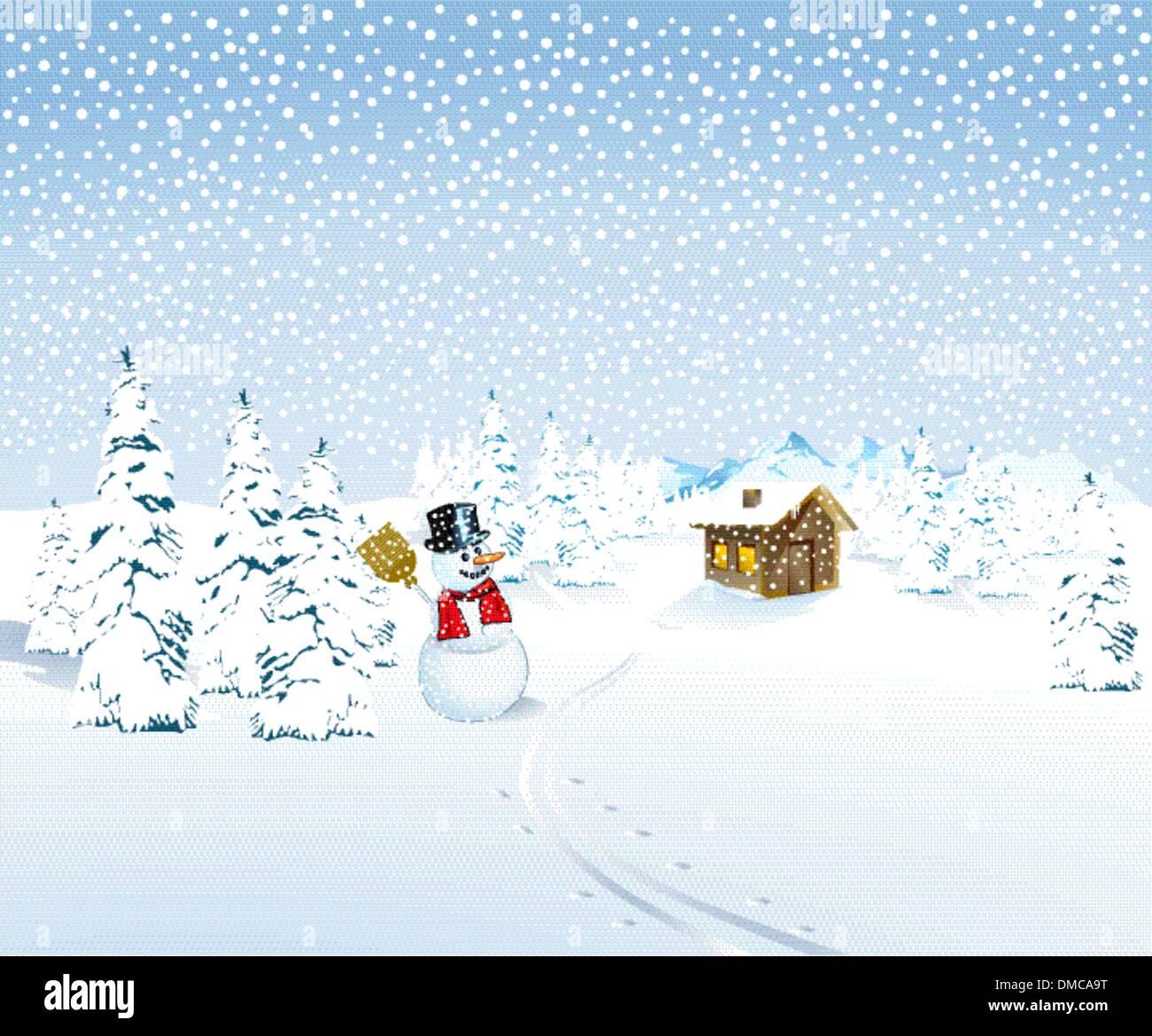 Winterlandschaft mit Schneemann und Bergh├╝tte Stock Vector