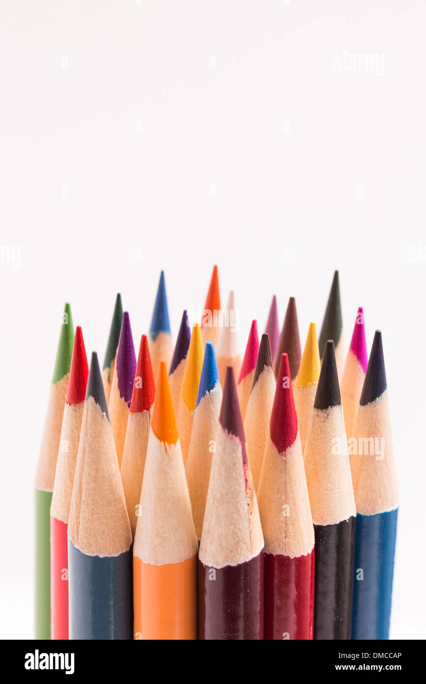 Colored pencils on white - Stock Image