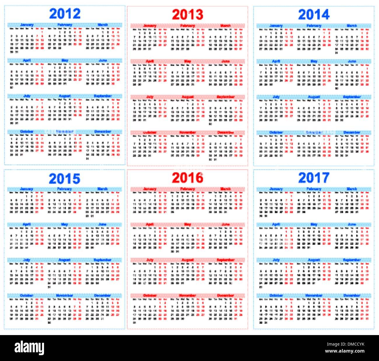 Calendar 2012 2013 2014 2015 Stock Photos Calendar 2012 2013 2014