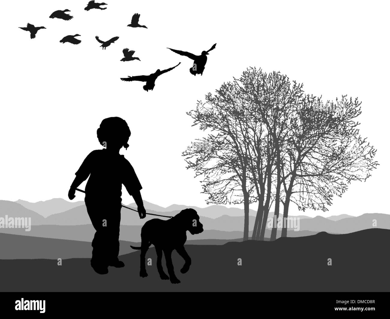 Boy and puppy - Stock Vector