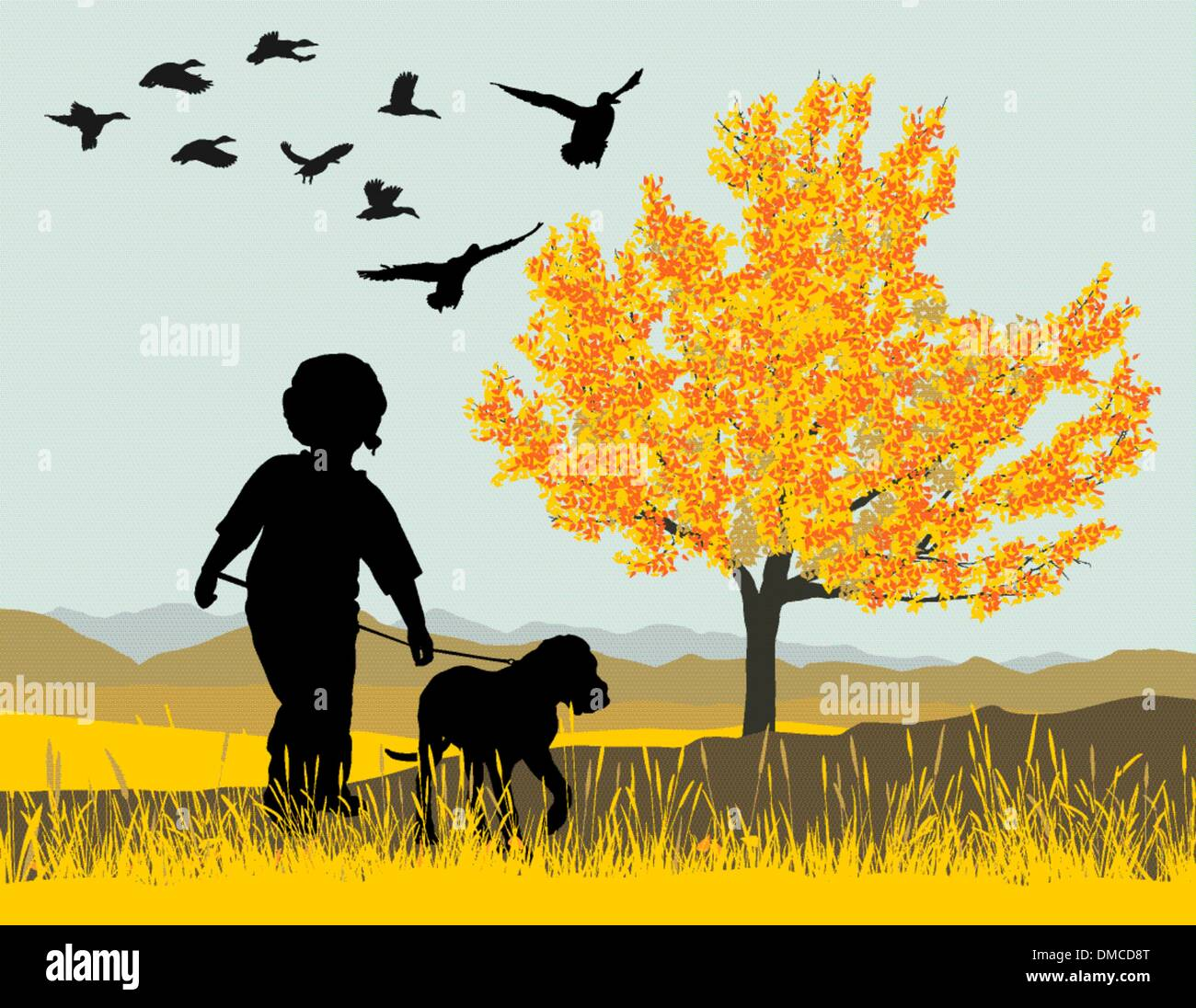 Puppy and boy - Stock Vector