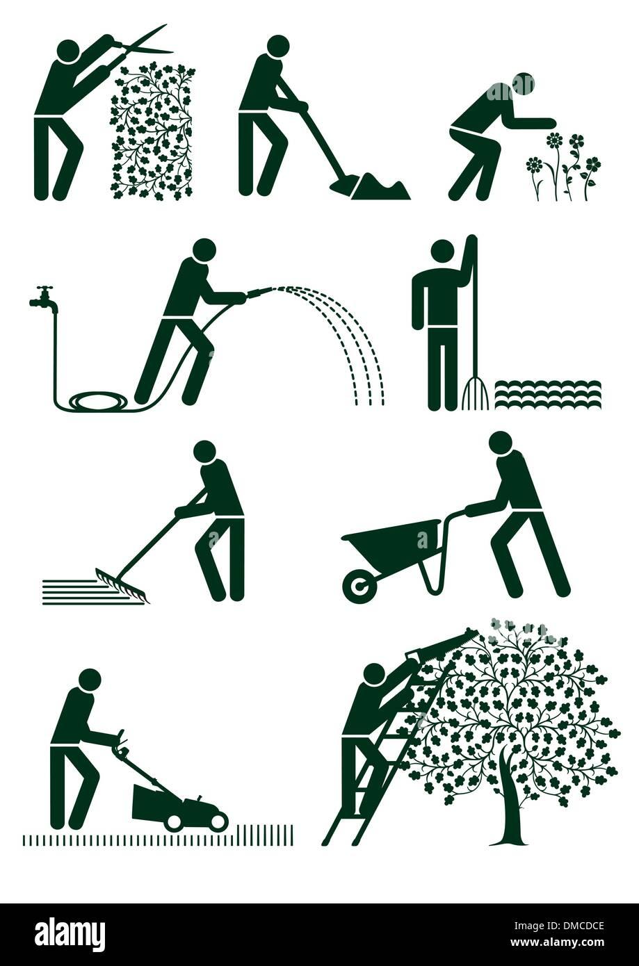 Gardening pictogram - Stock Image