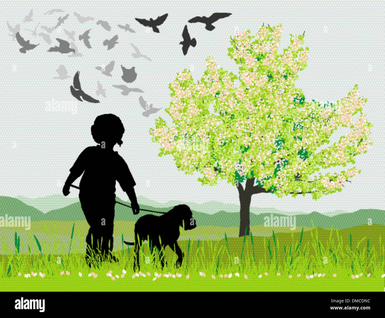 Puppy and boy in the spring - Stock Vector