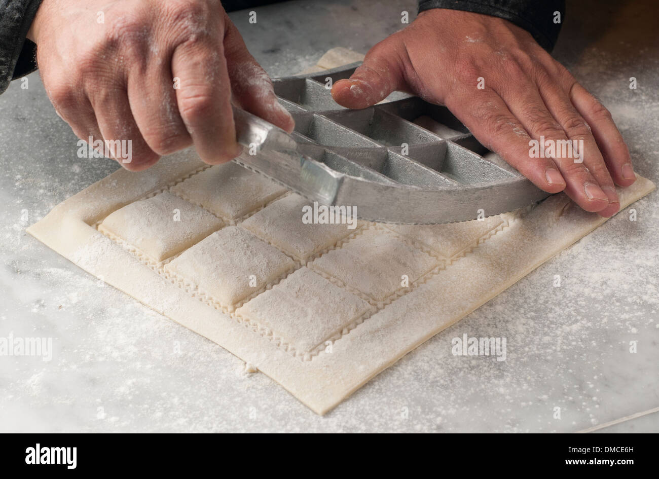fresh pasta manual production - Stock Image