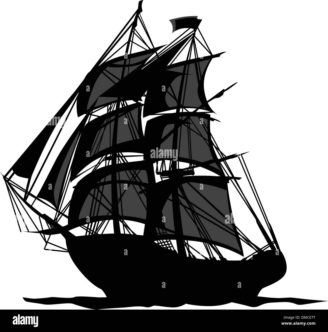 Pirate Ship with Shadows  in Sails Graphic Vector Illustration - Stock Image