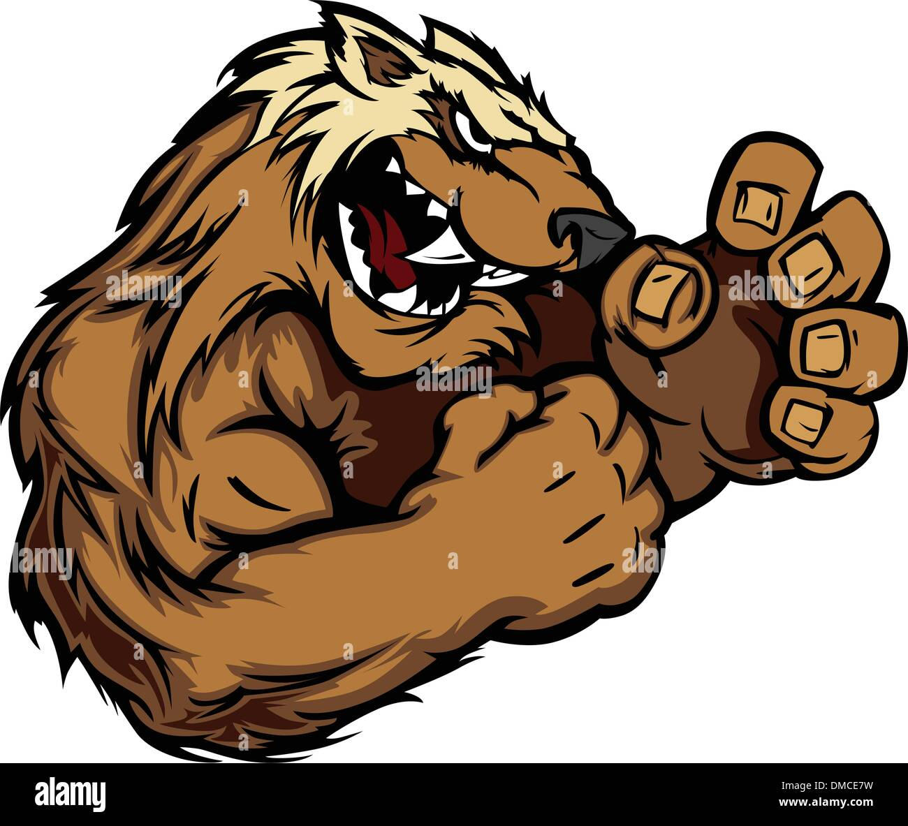 Graphic Vector Image of a Wolverine or Badger Mascot with Fighting Hands - Stock Image