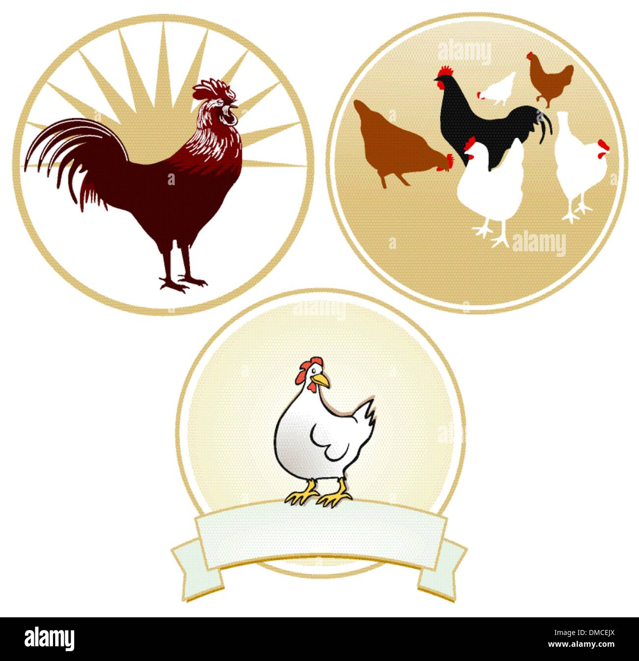 Chicken and rooster sign - Stock Vector