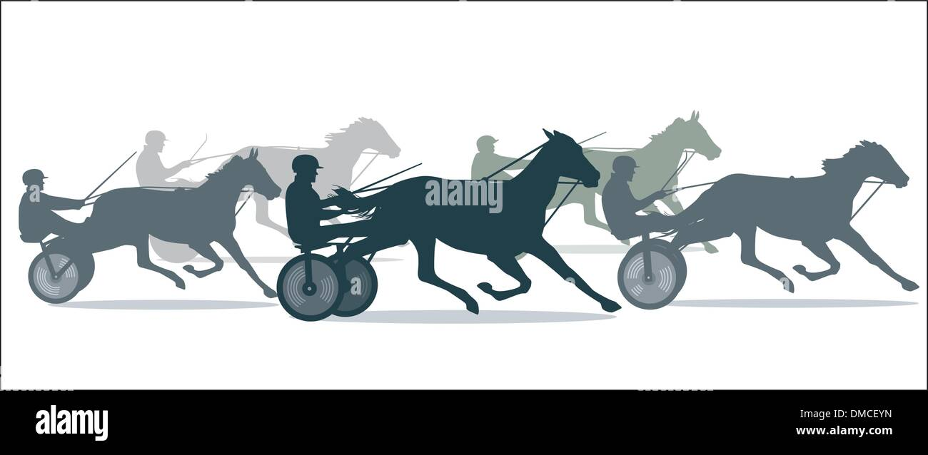 Trotting Horse Racing - Stock Vector
