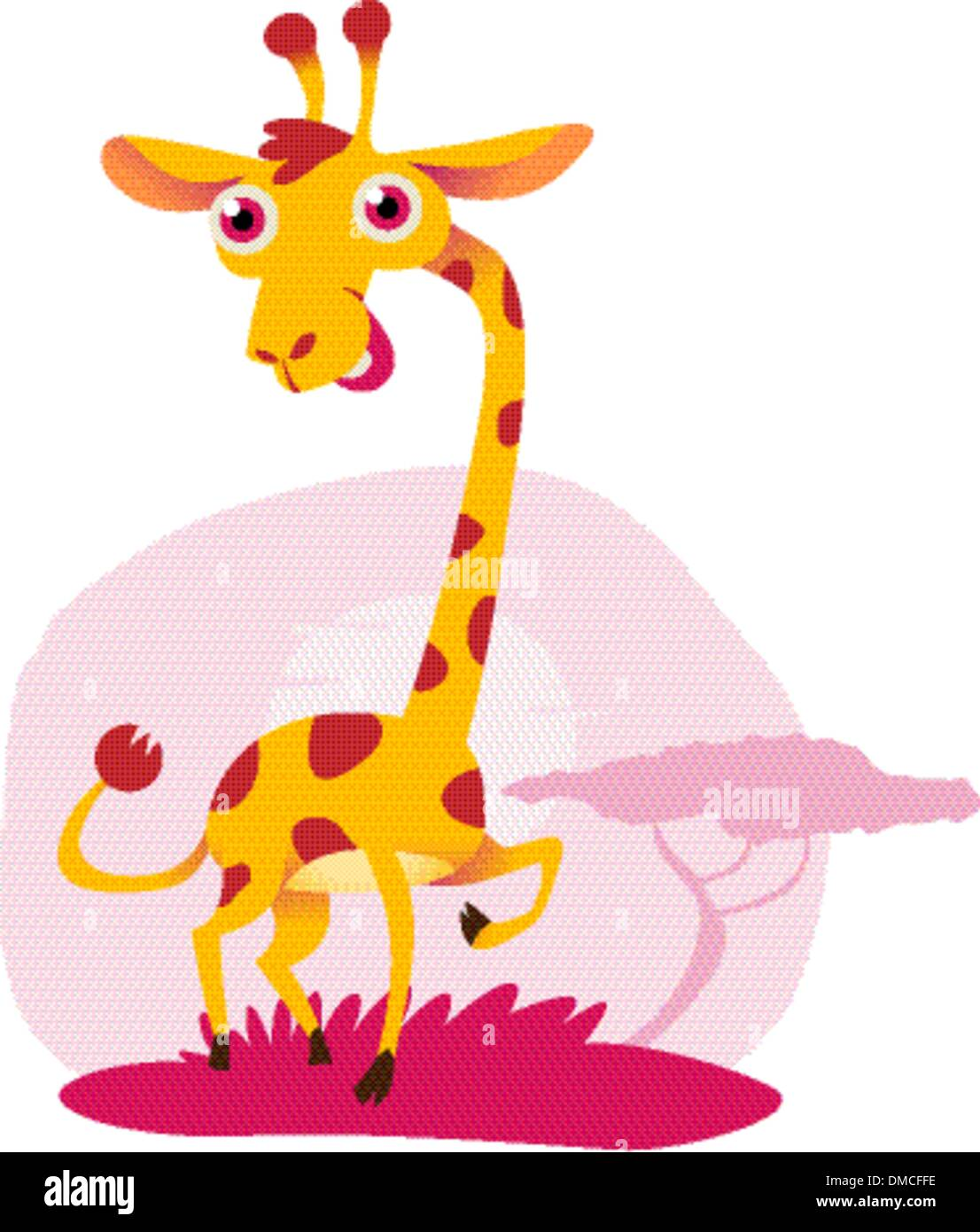 An illustration of a cute, goofy-looking giraffe - Stock Image