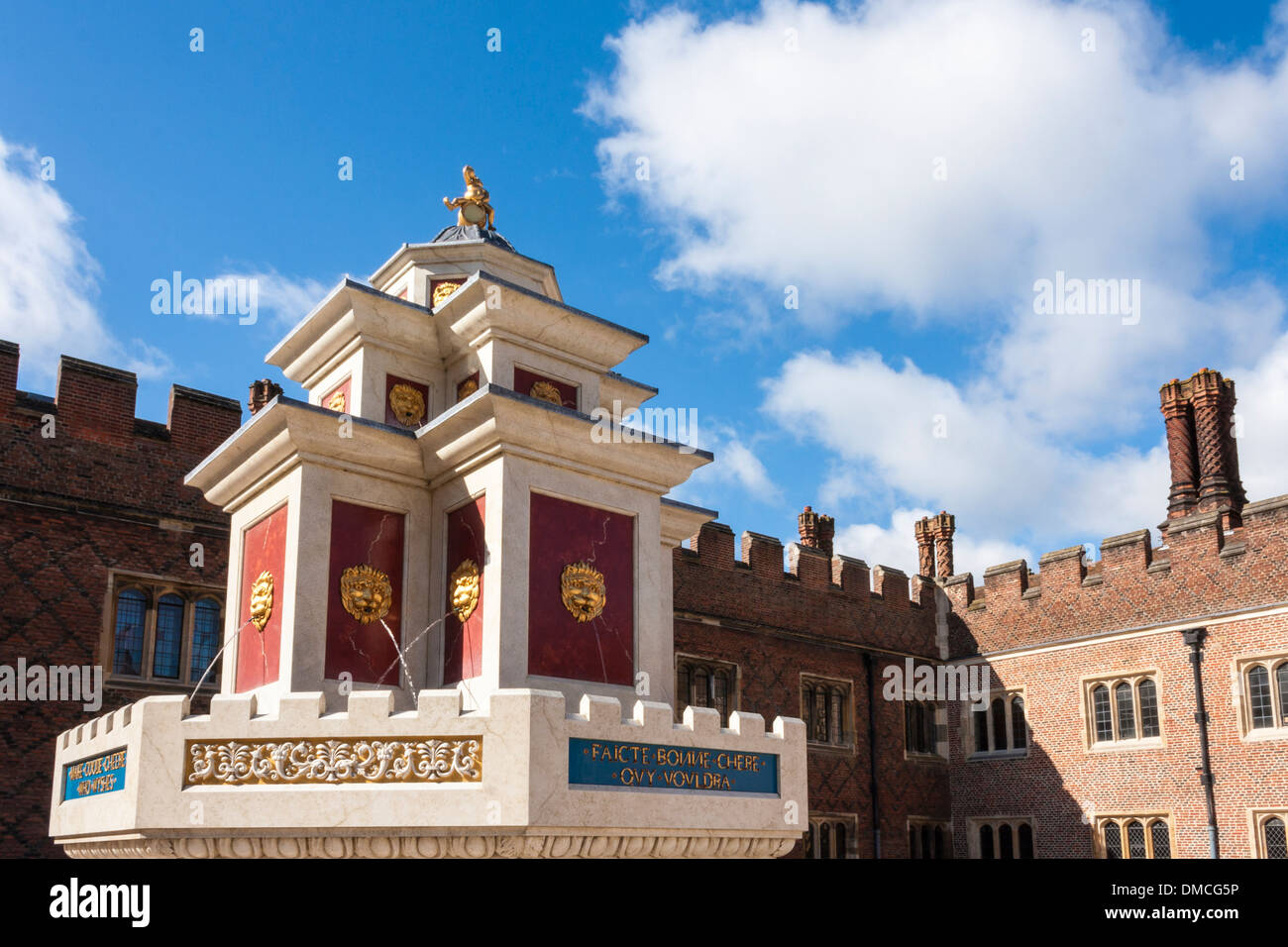 Recreation of Henry VIII wine fountain in Base Court at Hampton Court Palace. Stock Photo