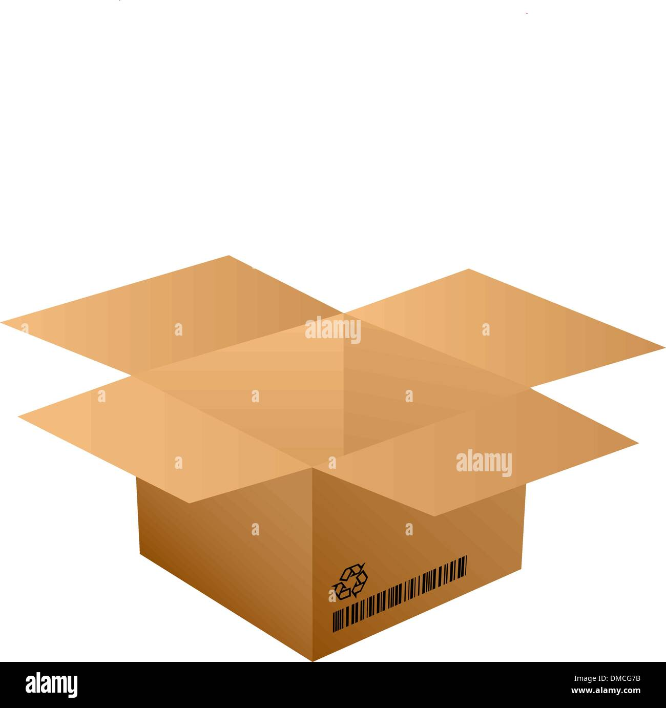 opened cardboard bow with bar code - Stock Vector