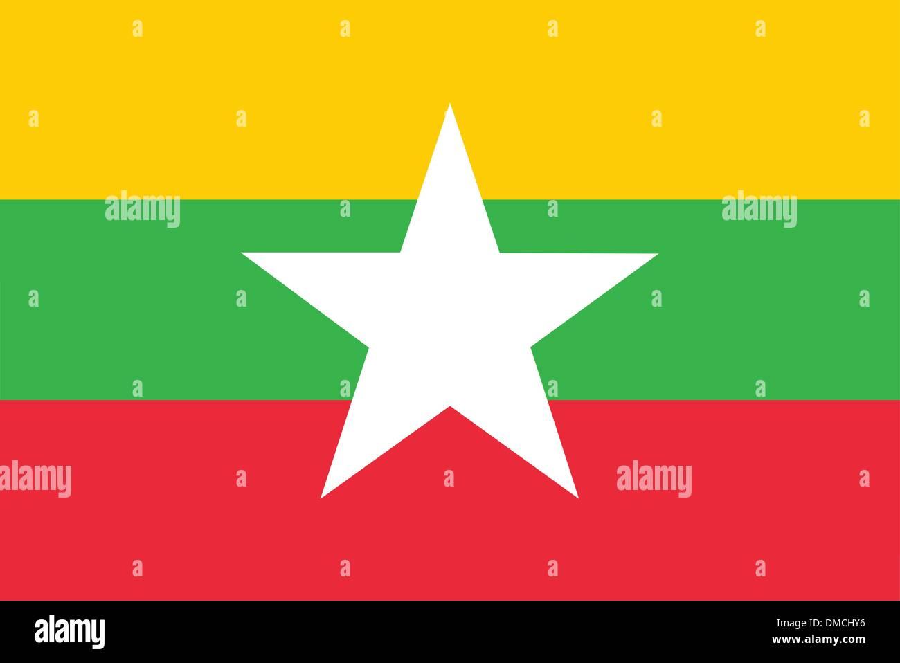 Flag of Burma (Myanmar) - Stock Vector