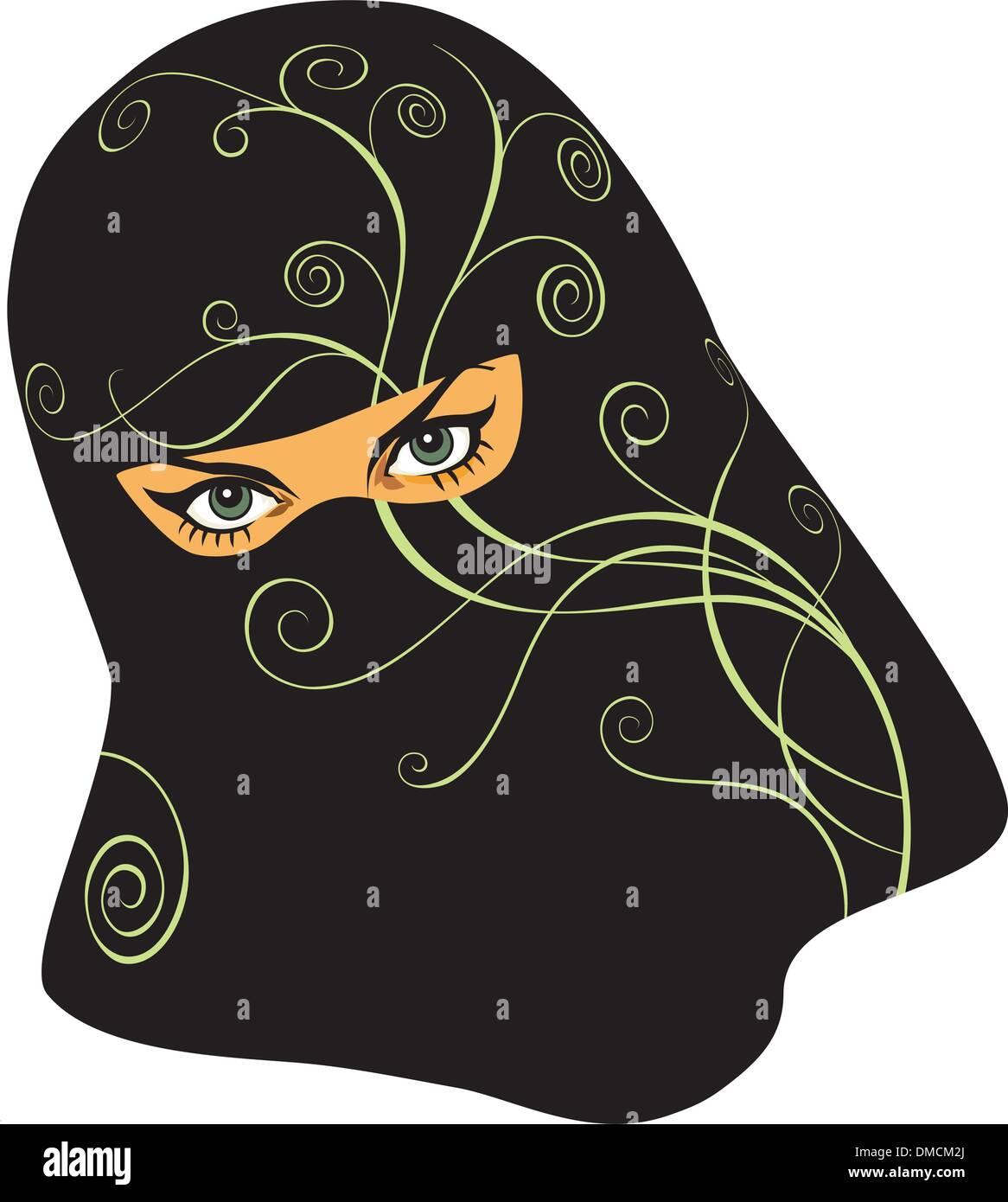 Arabian woman in a yashmak - Stock Image