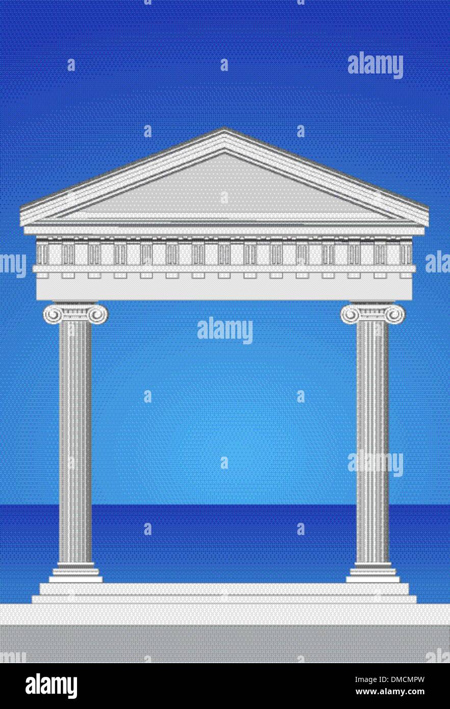 Antique Temple Facade - Stock Vector
