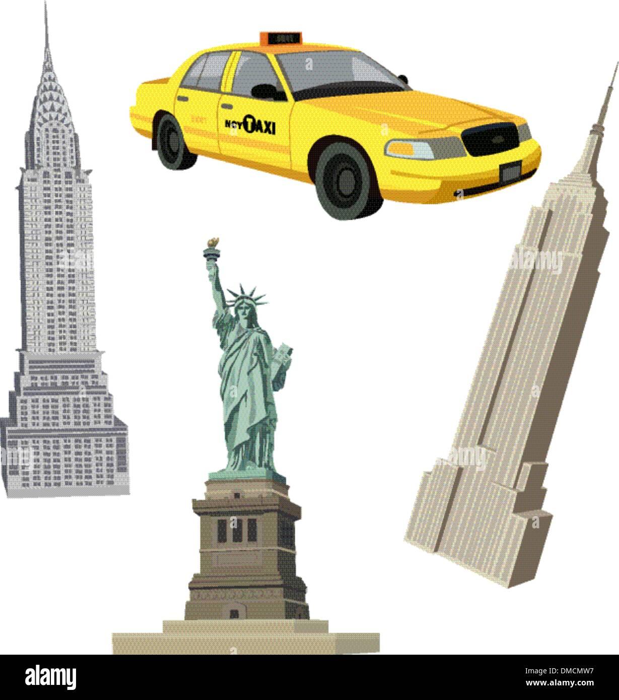 New York City Symbols - Stock Vector