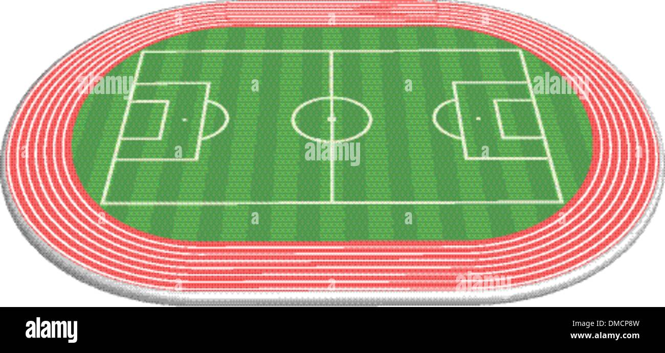 3 dimensional football field pitch - Stock Vector