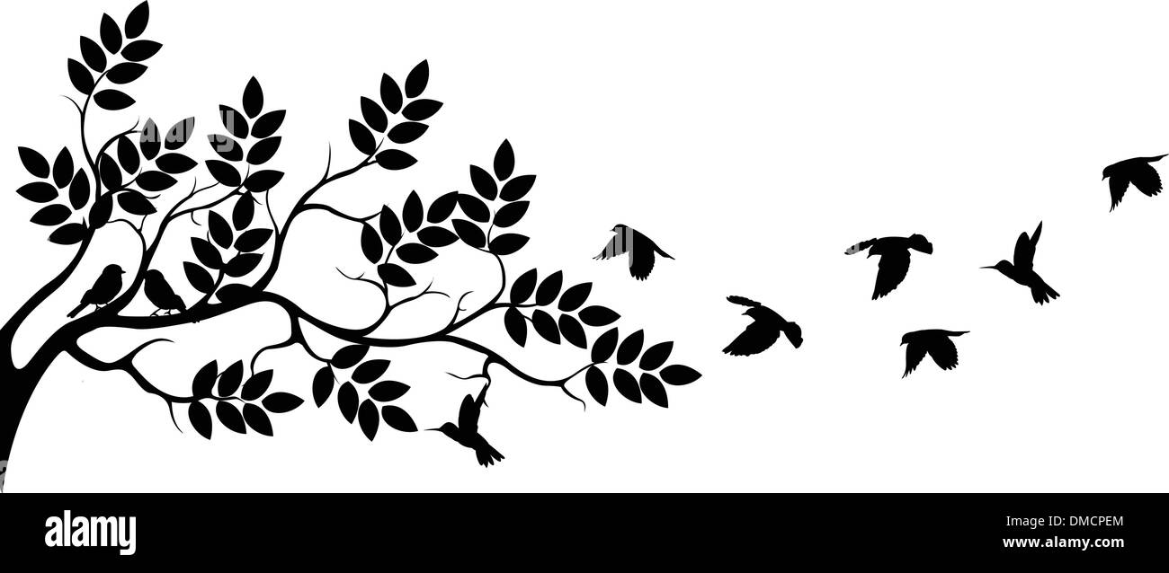 tree silhouette with birds flying Stock Vector Art ...