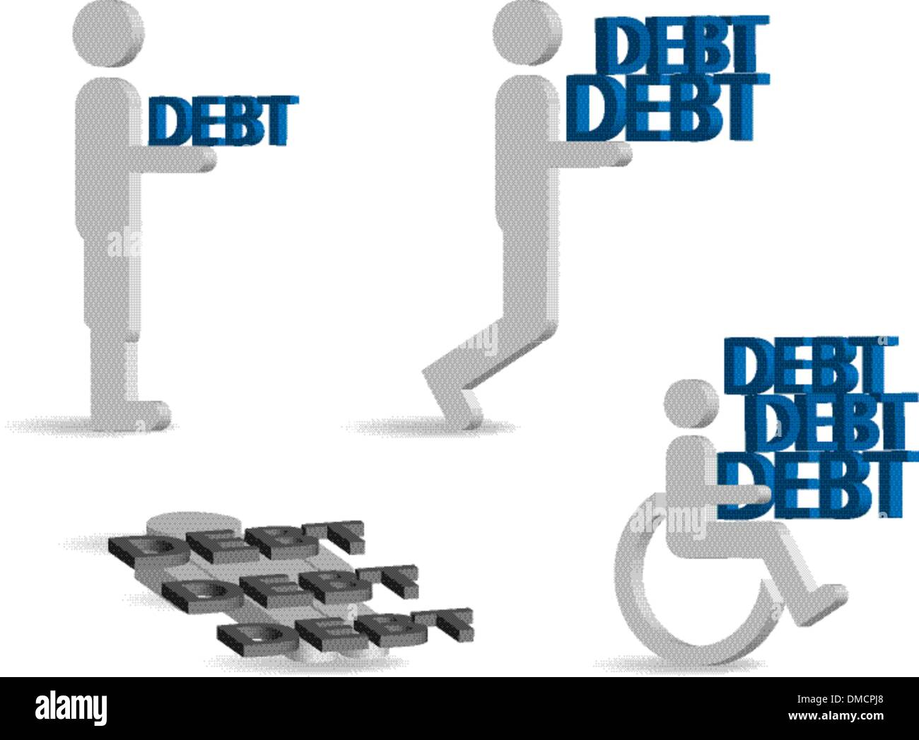 Burden of debt - Stock Vector