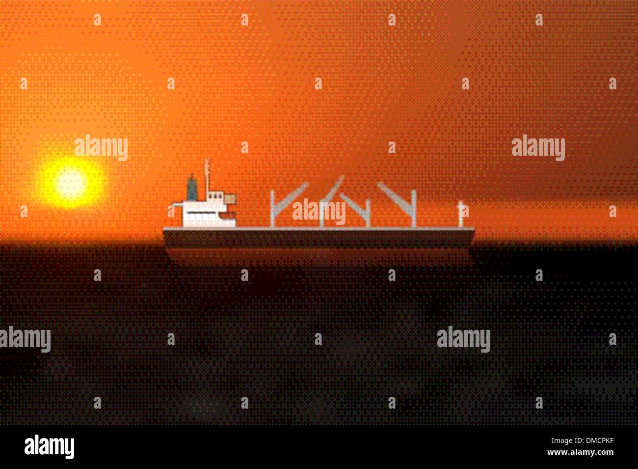 a vessel navigating on high seas under a sunset - Stock Vector