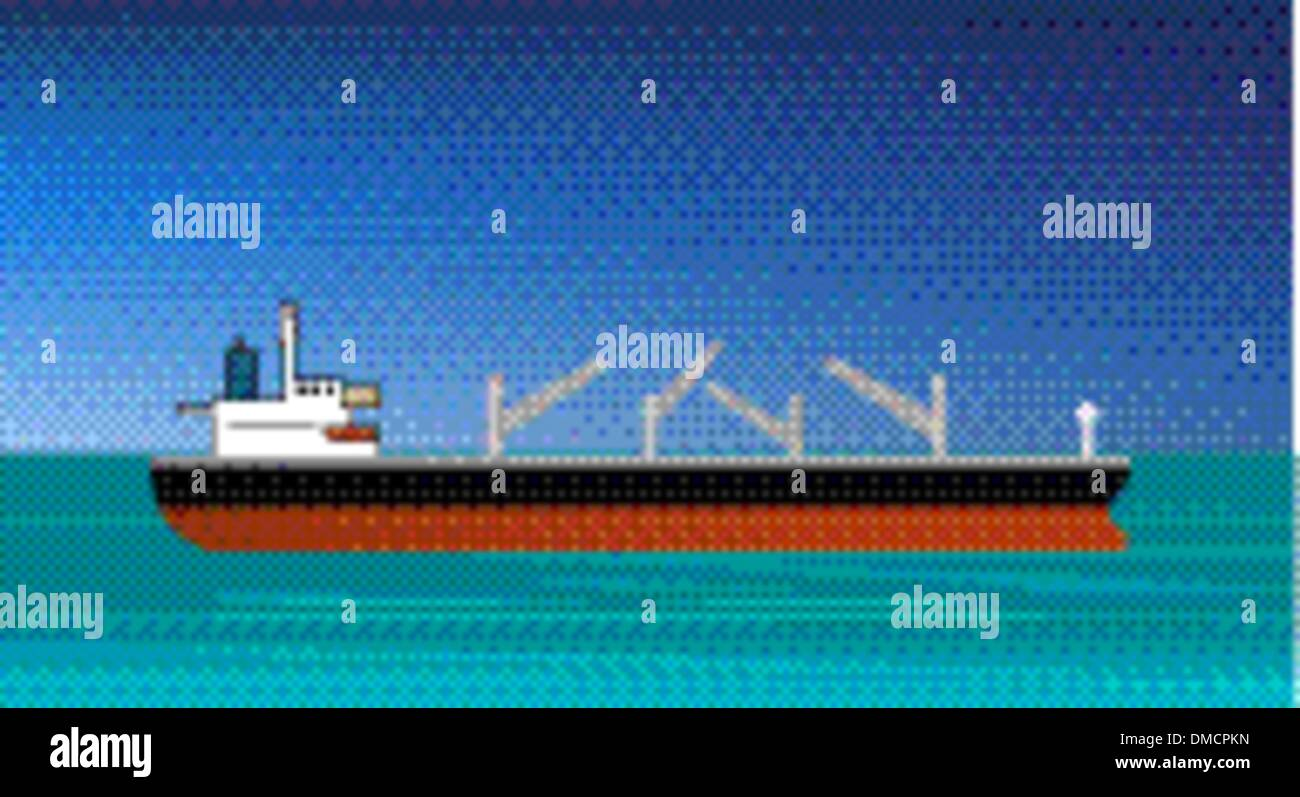 cargo ship approaching or entering the harbor - Stock Image