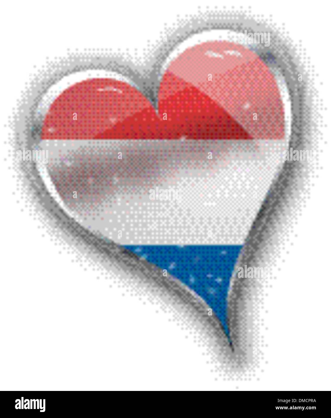 national flag of the Netherlands (Holland) in heart shape with a - Stock Vector