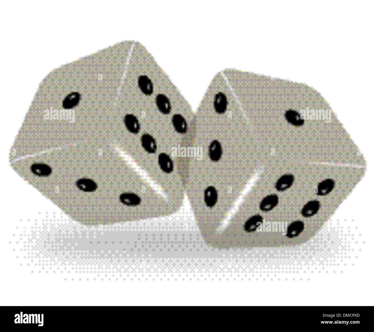 Vector dices on white background with meshes - Stock Image