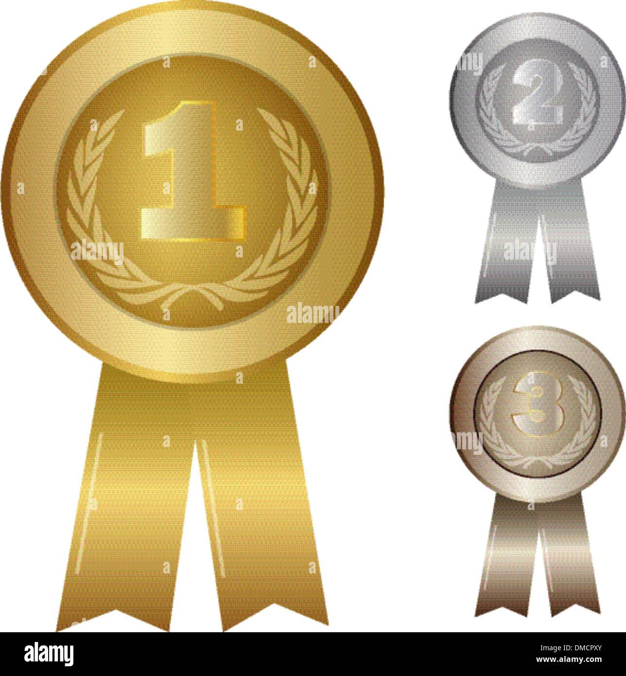 illustration of 1st 2nd 3rd awards - Stock Vector