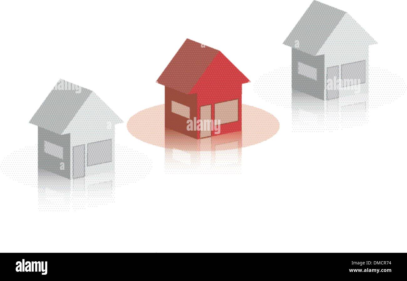 group of houses in dirty white and red with a reflection underne Stock Vector