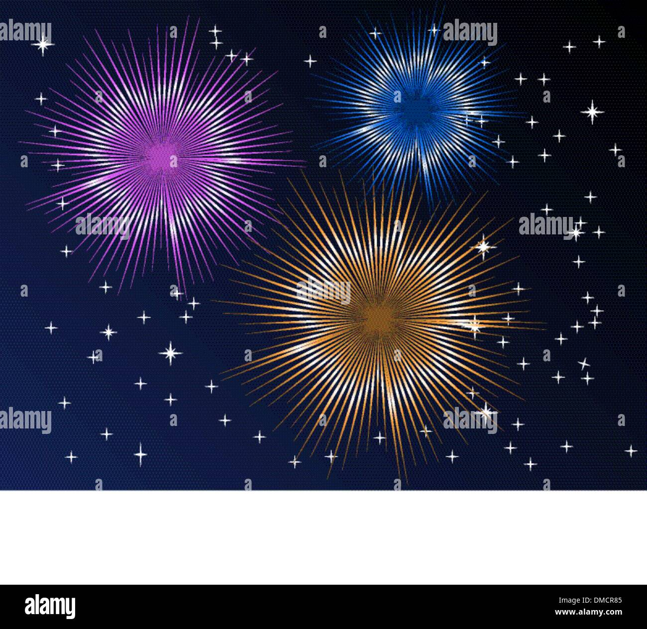 Fireworks display with multiple bursts - Stock Image