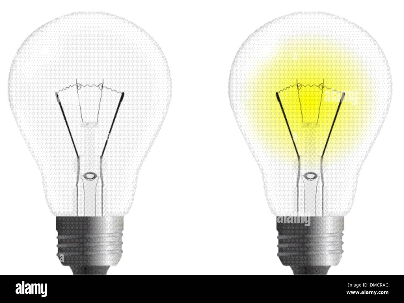 On And Off Vector Light Bulb Isolated On A White Background Stock