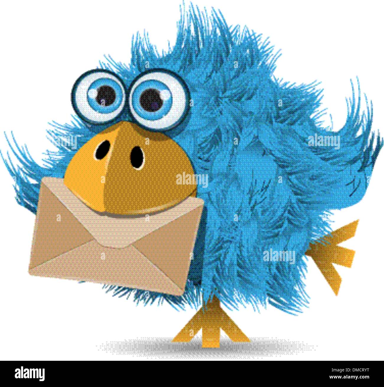 very funny  blue bird with envelope - Stock Image