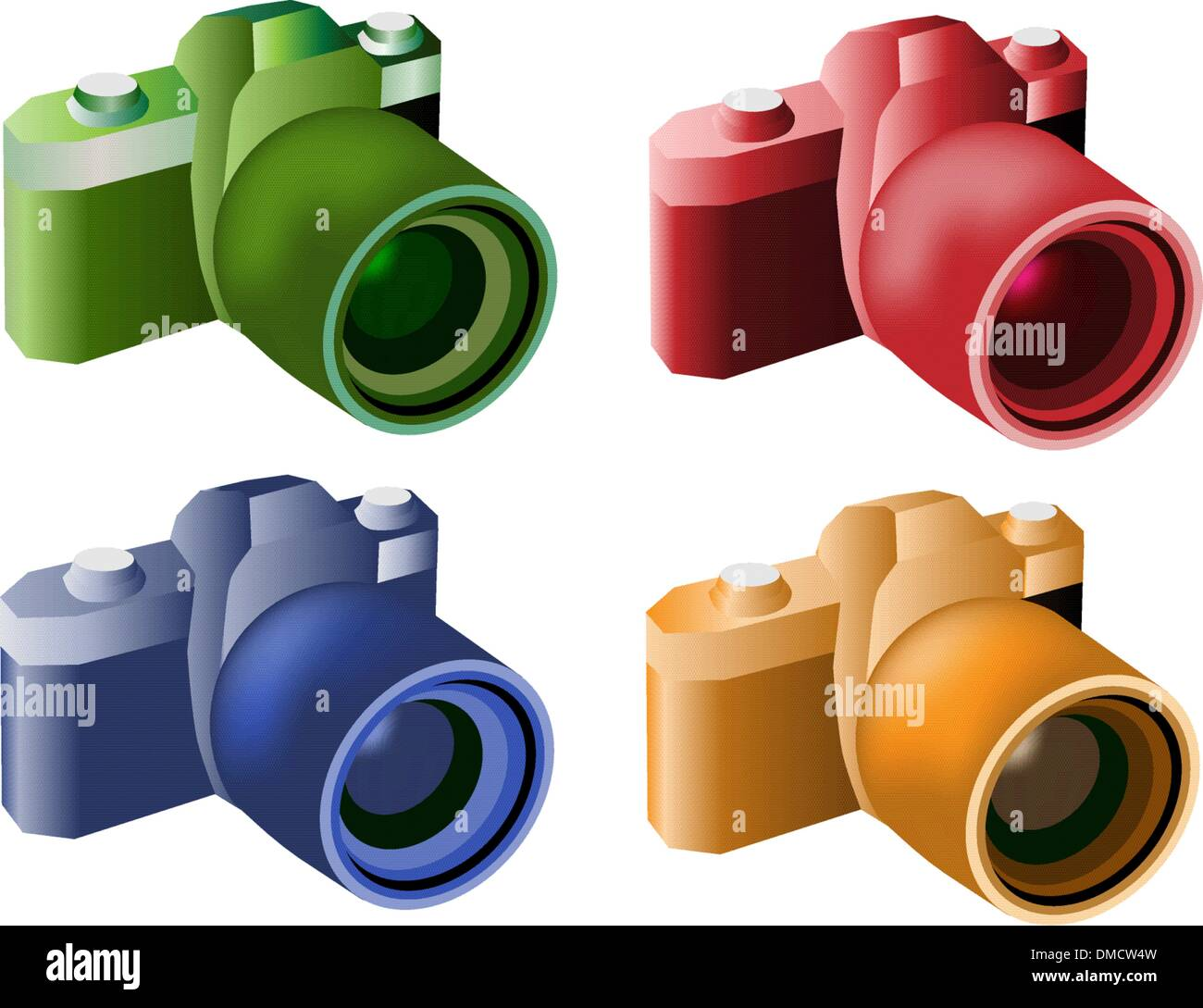 Four Color Illustration of Modern Digital Cameras - Stock Vector
