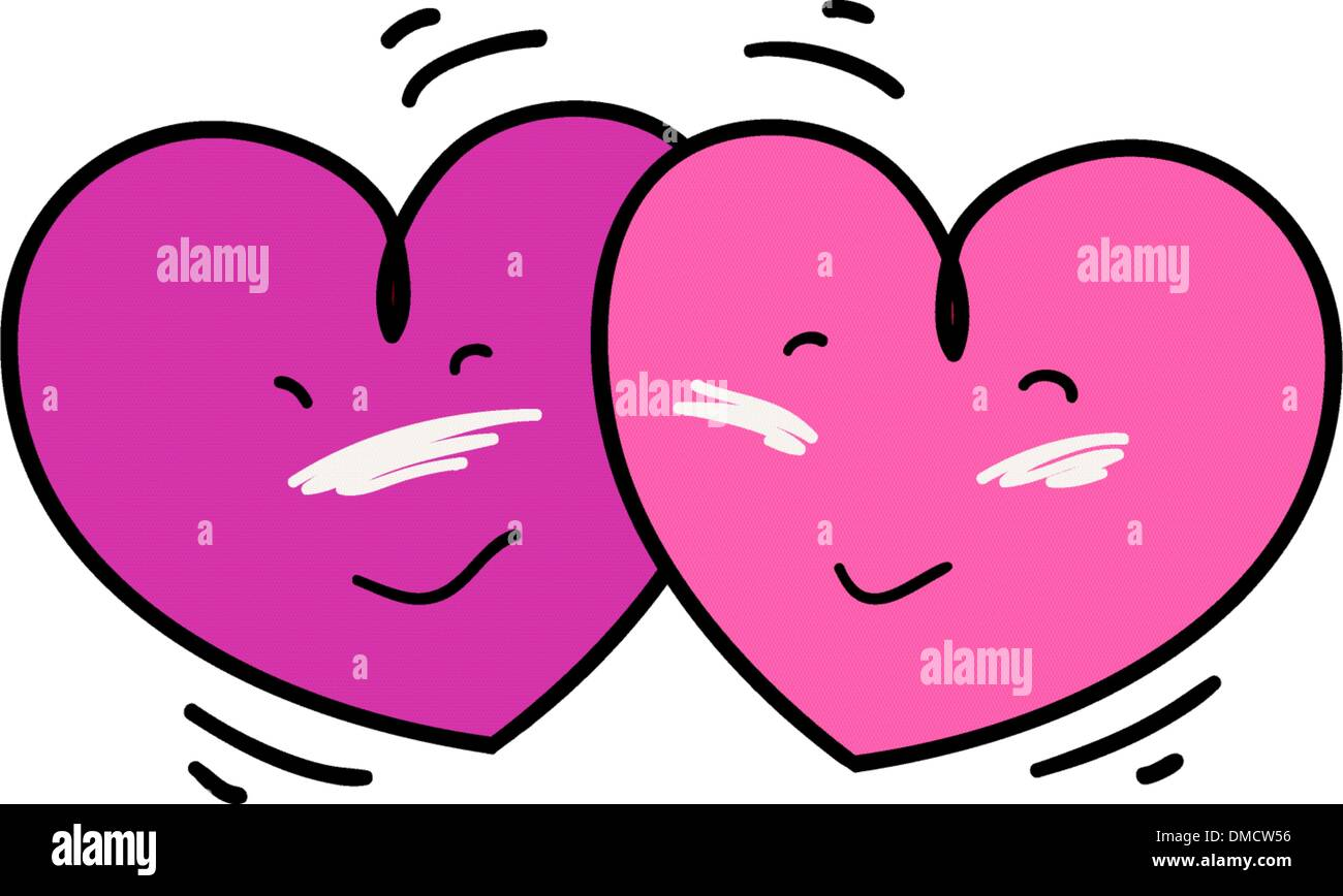 Two Nicely Pink Heart Falling in Love - Stock Image