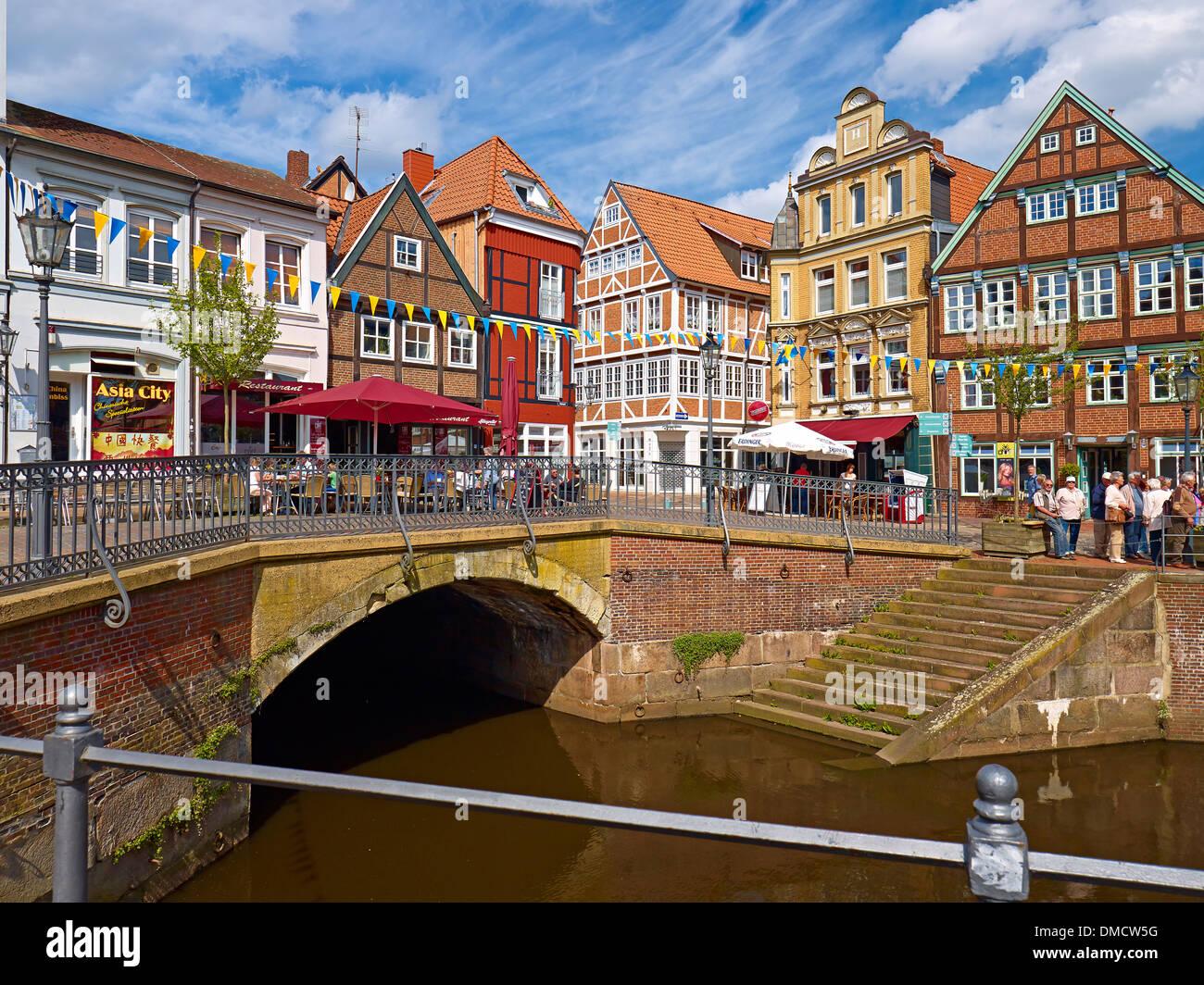 Houses at Hansa port, Hanseatic city of Stade, Lower Saxony, Germany - Stock Image