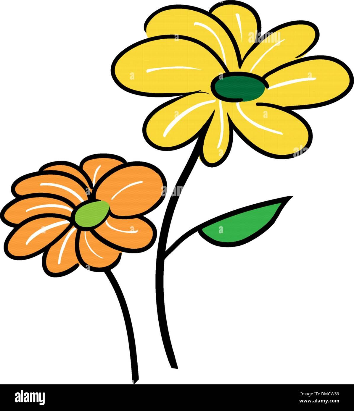 Two Cute Little Flower Falling in Love - Stock Image