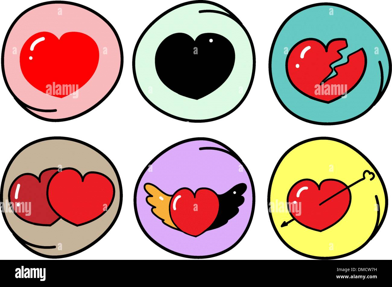 Set Different Heart Symbols On Stock Photos Set Different Heart