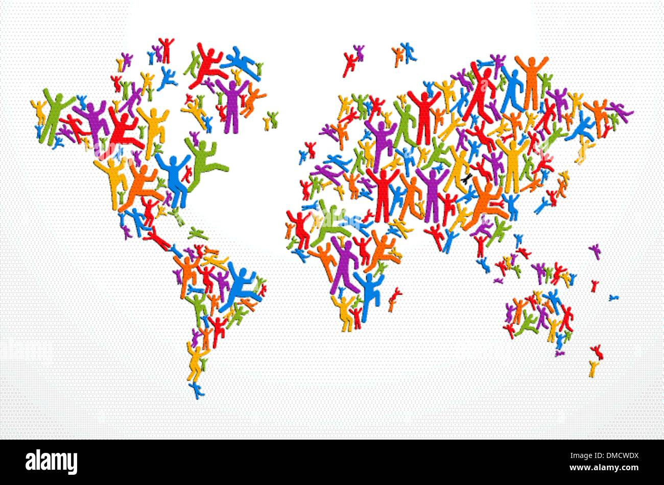 Diverstiy people concept world map - Stock Image