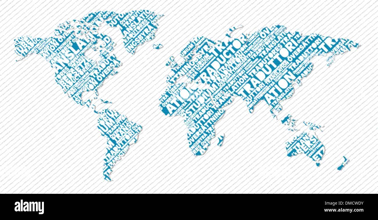 Translation Concept Map.Multilingual Translation World Map Concept Stock Vector Art