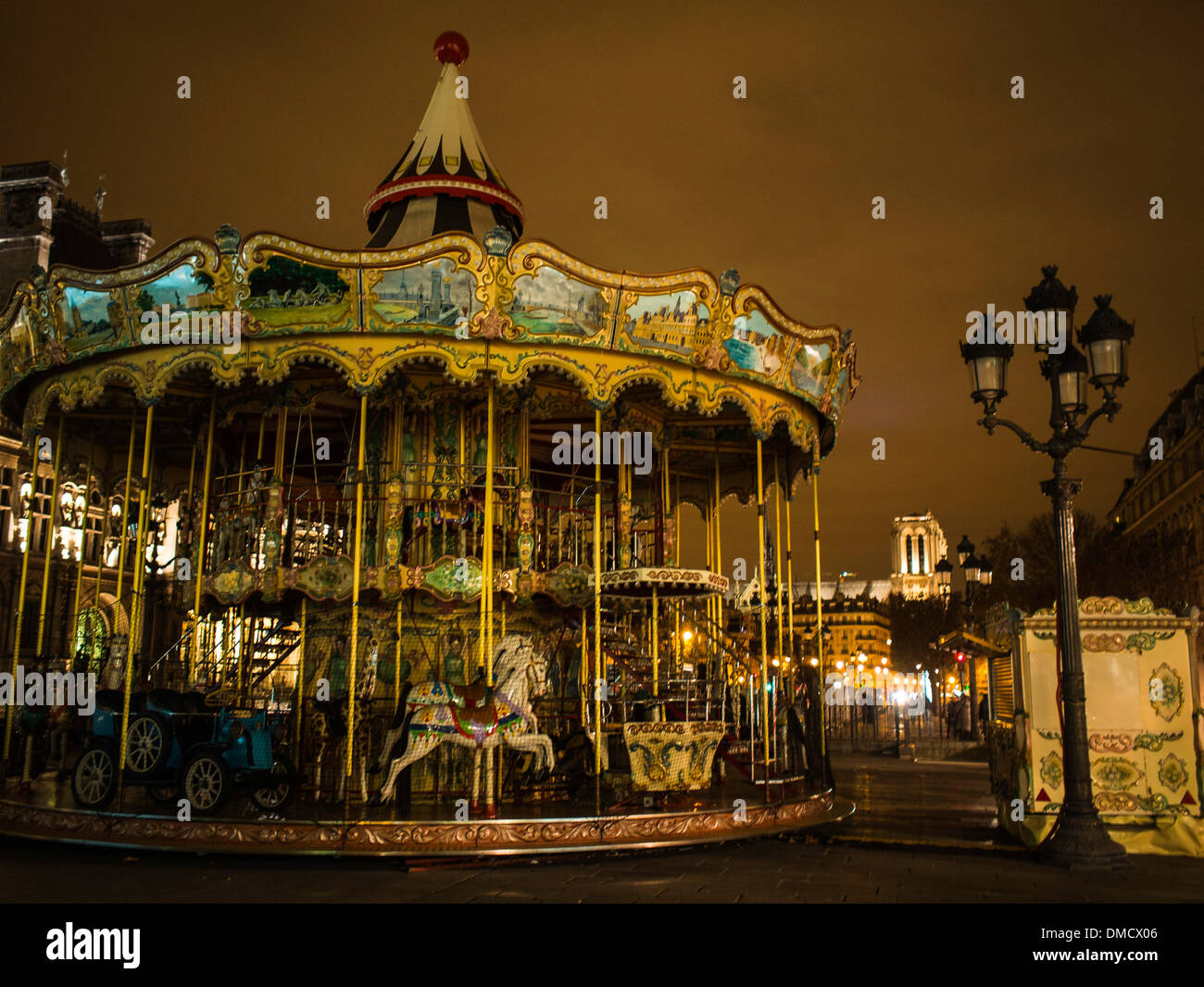 Old carousel in the night lights - Stock Image