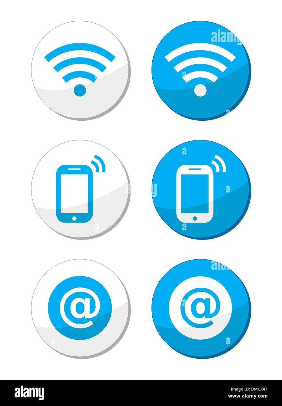 Wifi network, internet zone blue labels set - vector - Stock Image