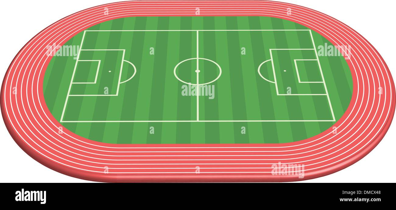 3 dimensional football field pitch - Stock Image