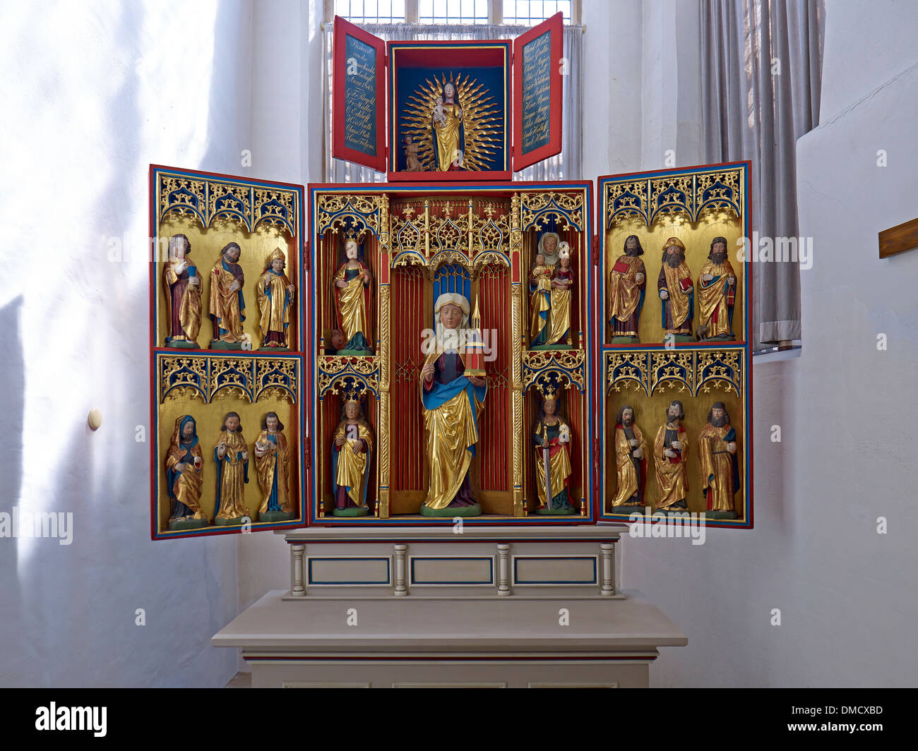 Gertrude altar in the church of St. Cosmae and Damiani, Hanseatic city of Stade, Lower Saxony, Germany - Stock Image