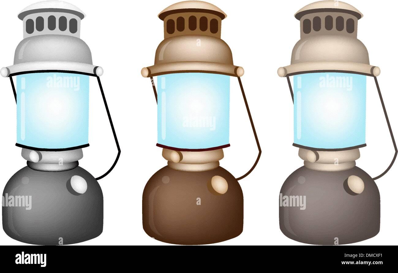 An Illustration Set of Old Kerosene Lamp - Stock Vector