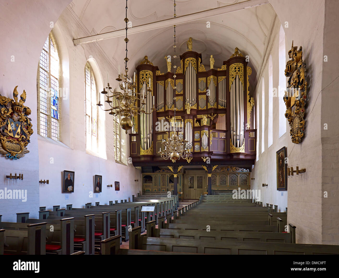 Hus / Schnitger organ in the church St. Cosmae and Damiani, Hanseatic city of Stade, Lower Saxony, Germany - Stock Image