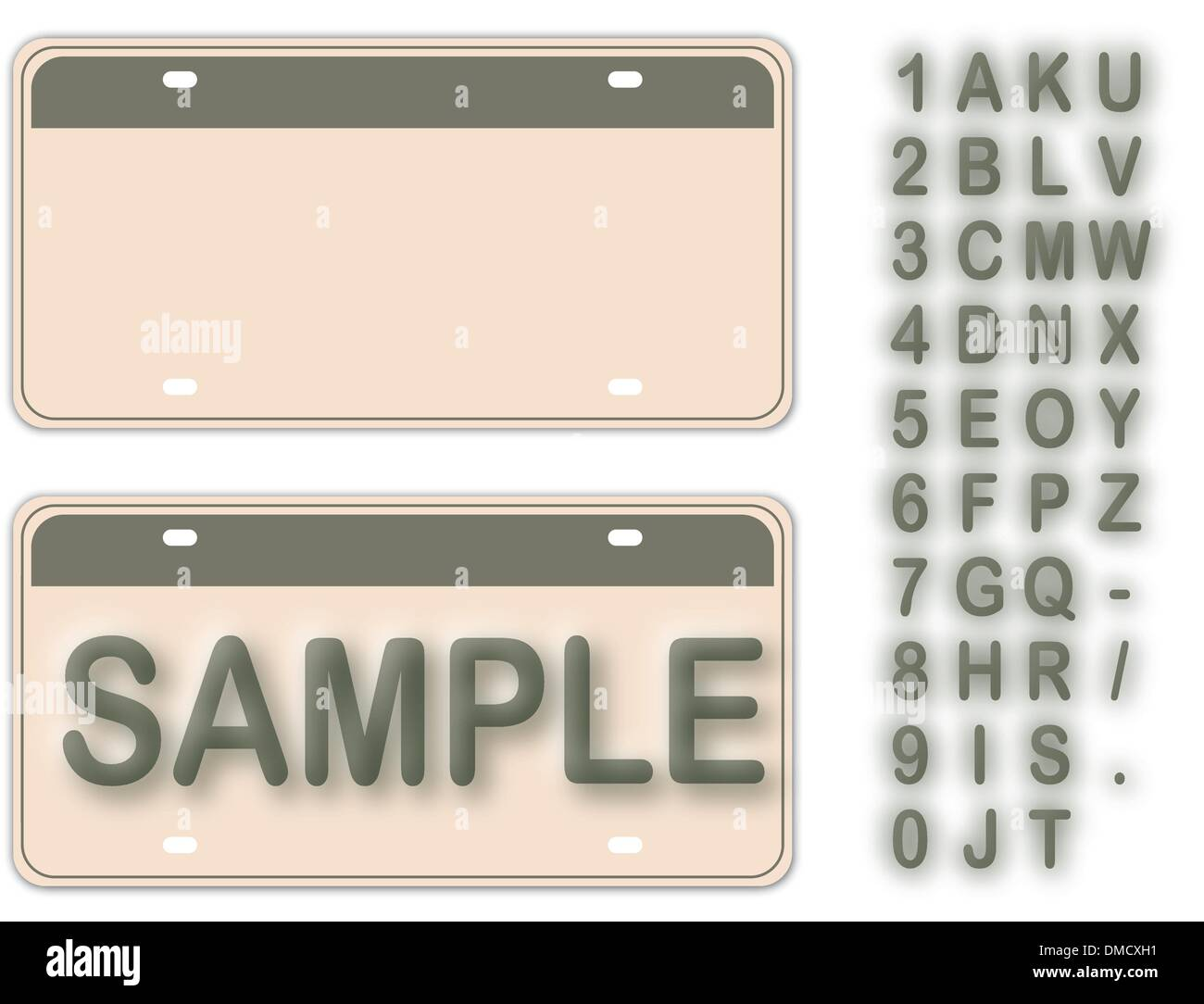 Empty License Plate With Editable Live Texts (See Also Image ID: Stock Vector