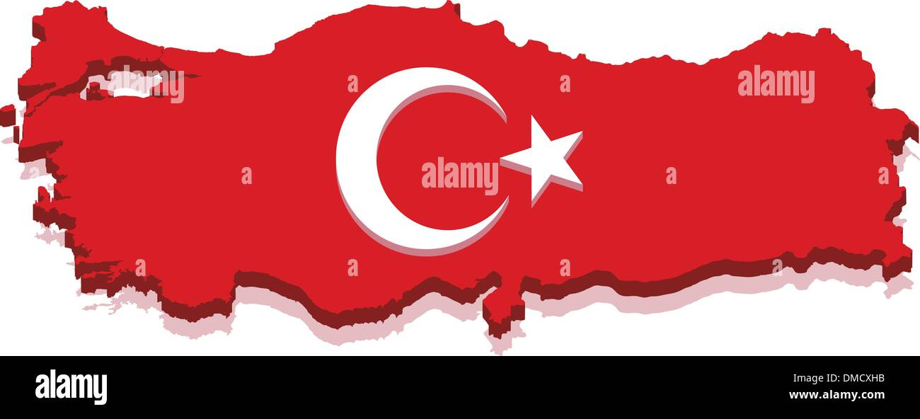 Turkey Map with Turkish Flag 3D - Stock Vector