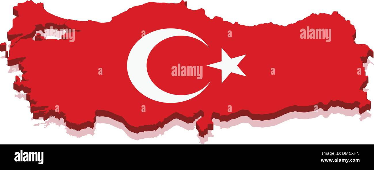Turkey map with flag - Stock Vector