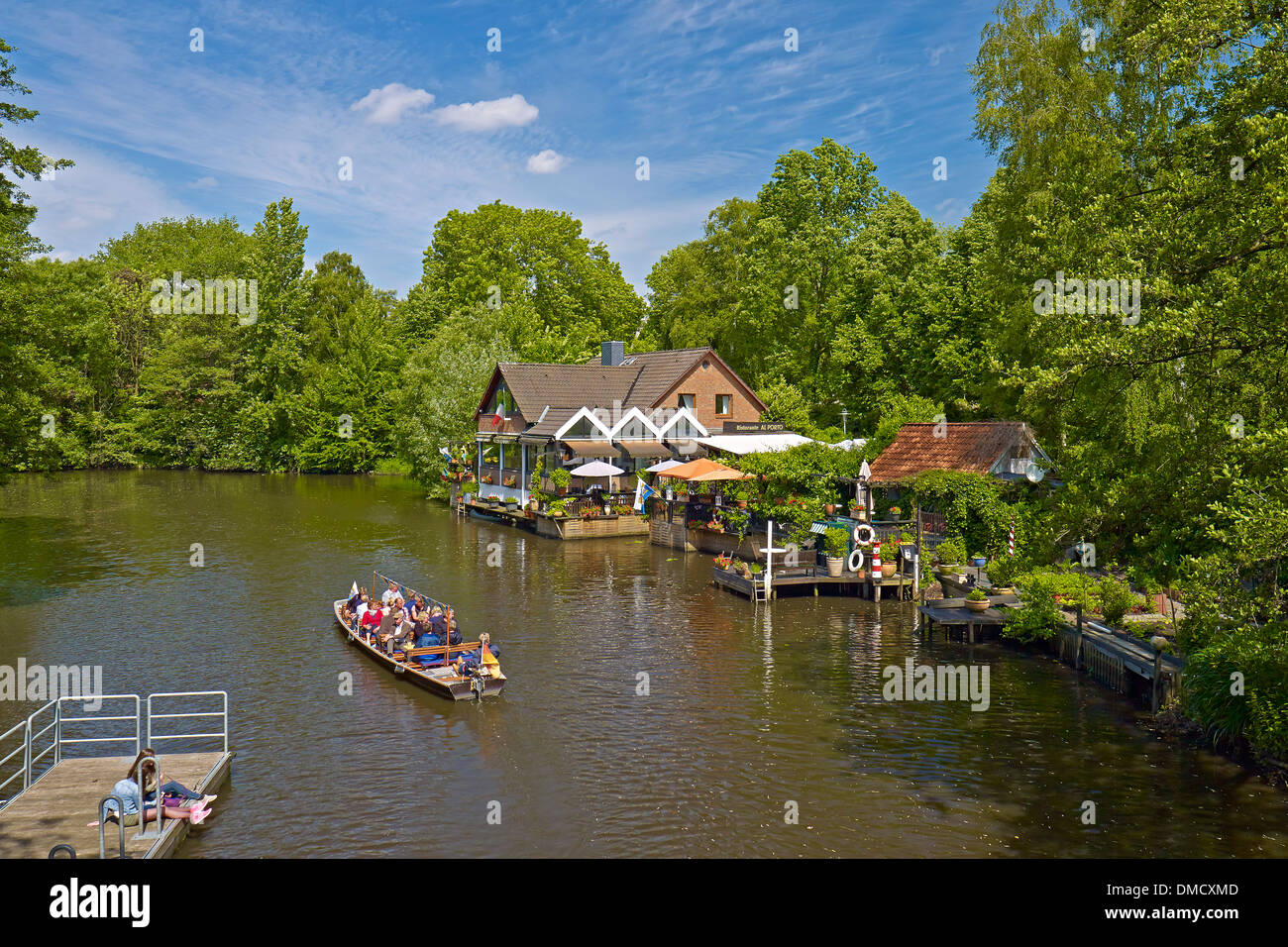 Canal boat or ark tours, Hanseatic city of Stade, Lower Saxony, Germany - Stock Image