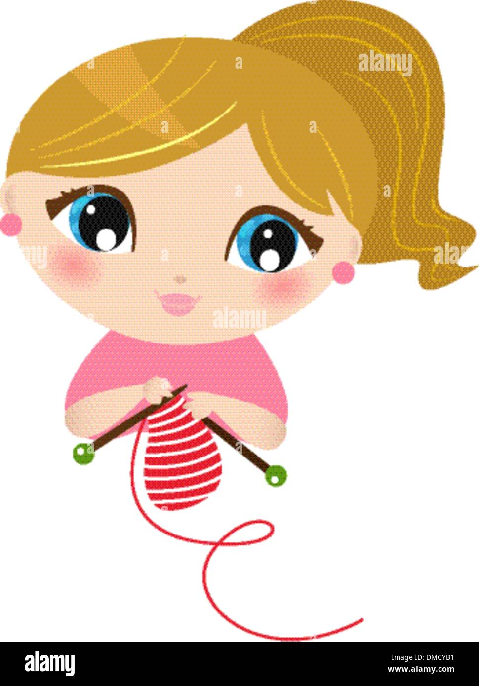 Beautiful knitting Girl isolated on white - Stock Vector