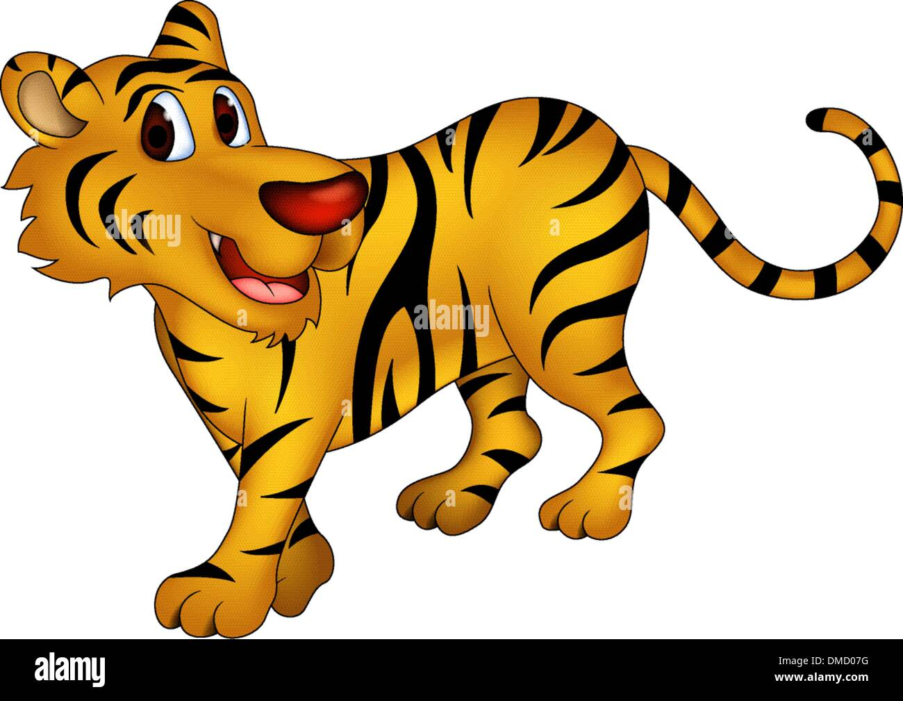 cute tiger cartoon - Stock Vector